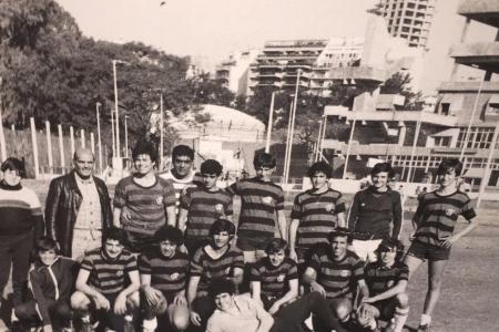 "Año 1980 - Fútbol Cosquin Marcelo y Fernando ""Pichi"" Rugero, Pericles, M. Quintana, J. ""Bocha"", G. Quintana, O. Picón, C. Galli"